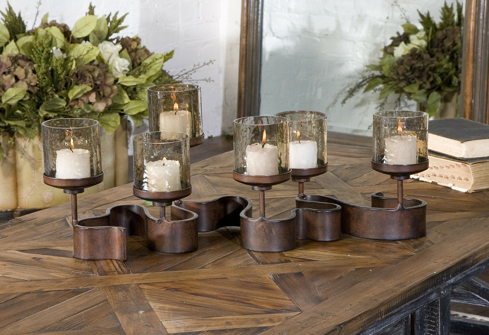NEW 24  AGED BRONZE METAL CANDELABRA CANDLE HOLDER 6 GLASS COPPER BROWN GLOBES