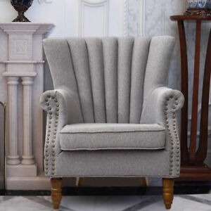 Strange Details About Modern Crushed Linen Wing Back Occasional Lounge Accent Chair Fabric Armchair Uk Pdpeps Interior Chair Design Pdpepsorg