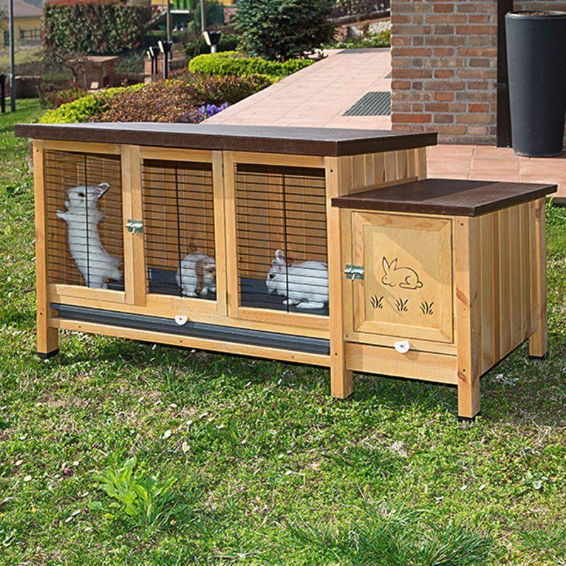 Conigliera grande a un piano xxl in legno per giardino esterno interni + omaggio