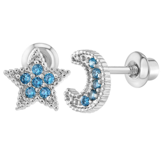 cd09b53f0 Frequently bought together. Rhodium Plated Screw Back Earrings Toddlers Little  Girls Kids ...