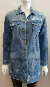 New Ladies Women/'s Distressed Long-line Denim Jacket Coat Top UK 8-14