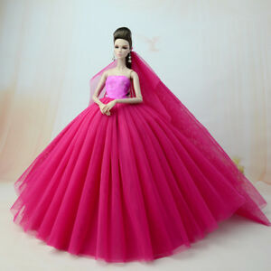 Big-ose-Red-Fashion-Party-Dress-Wedding-Clothes-Gown-Veil-For-Barbie-Doll-Dress