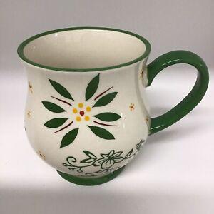 Temp-Tations By Tara Green Floral 16 oz Mug Cup Stoneware  New  With Gift Box.