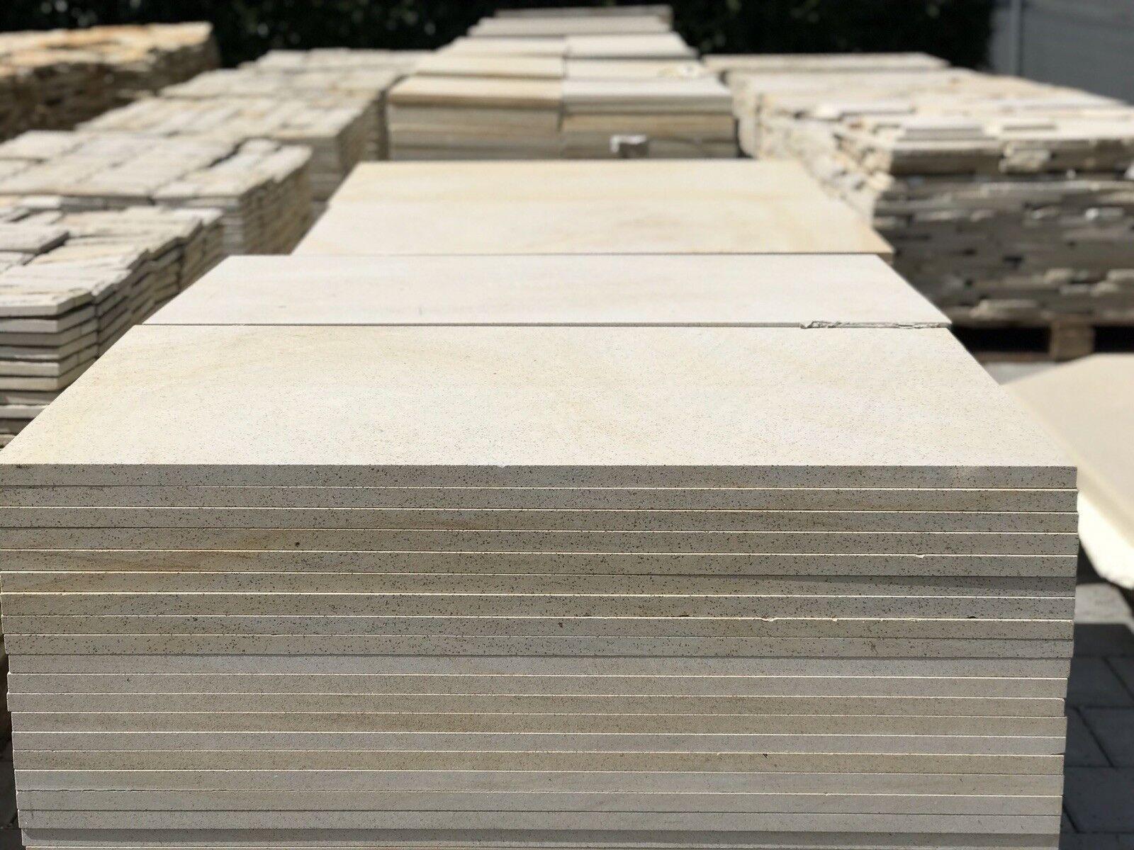 15m2 Steinplatten Sandstein 60x30cm Hofplatten Pflasterstein Terrassenplatten 1A