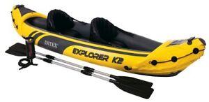 INTEX Explorer K2 2-Person Inflatable Kayak w/ Aluminum Oars & Pump (Open Box)