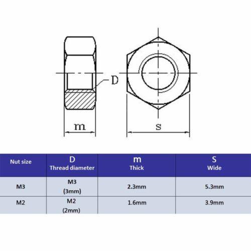50pc Thread M2 M3 Phillips Pan Round Head Bolt Screw Nut black zinc plated