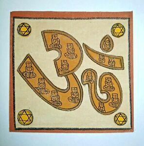 Yoga-Om-Religious-Karma-Tantra-Painting-Handmade-Miniature-Artwork-On-Canvas