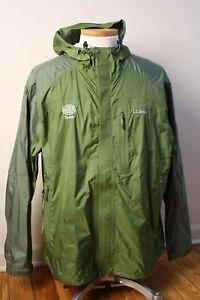 LL-Bean-Tek-O2-Storm-Green-RainCoat-Jacket-Lightweight-Hood-Pit-Zip-Huber-Timber