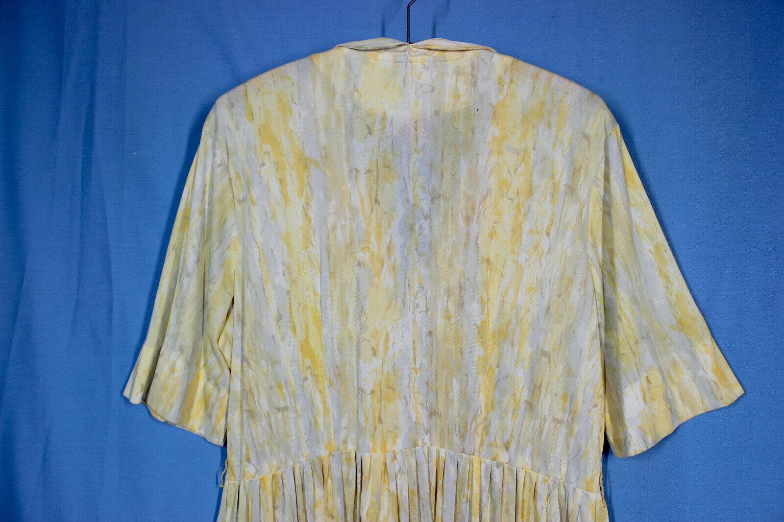 Vtg 60s Knit Dress XXL w37 Plus Shirt Rayon Pussy… - image 7
