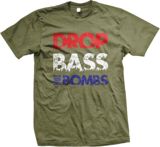 Drop Bass Not Bombs EDM Love Dub War Peace Turmoil Troops USA New Mens Tank Top