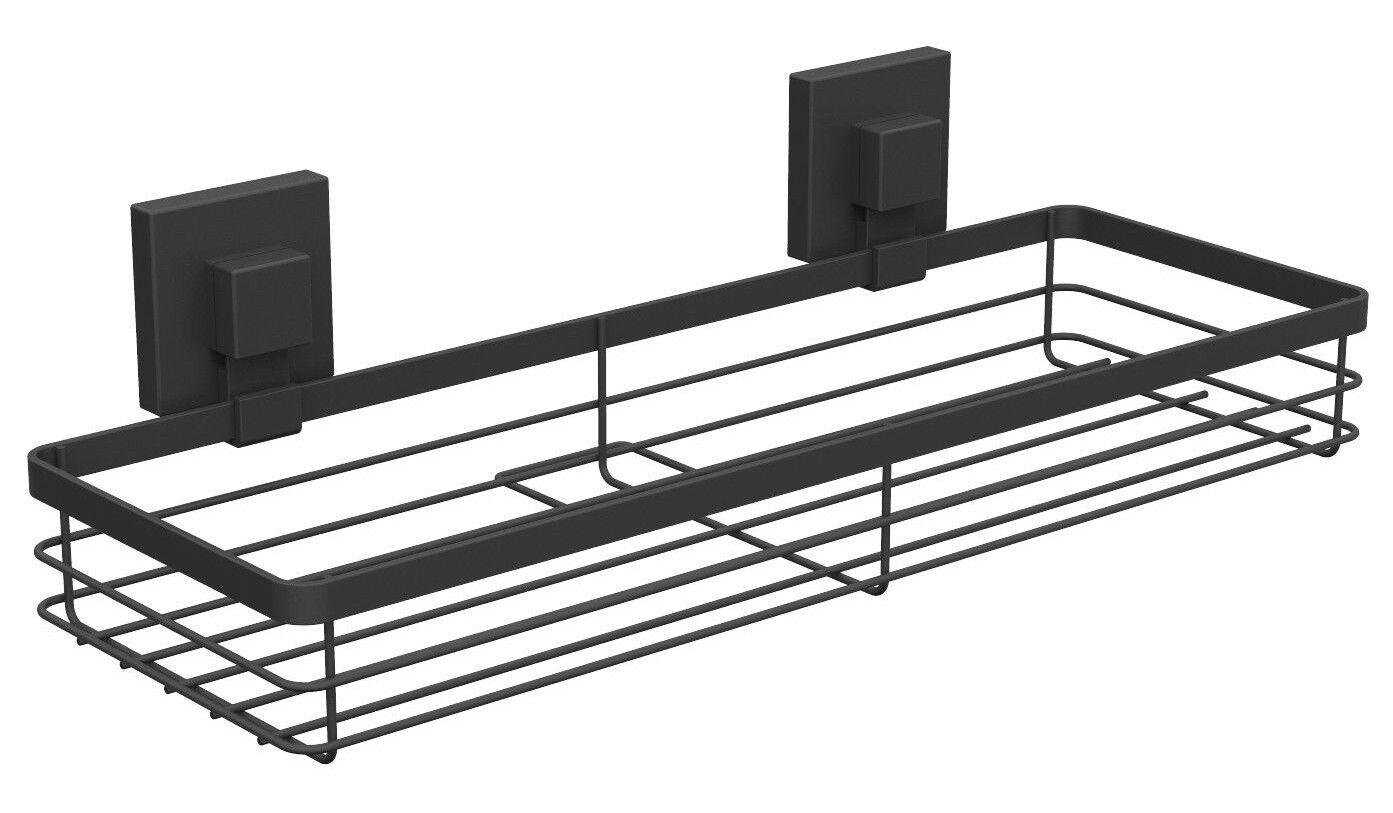 Fusion-Loc BATHROOM SUCTION SHELF 400x100x155mm Holds Up To 26kg MATTE BLACK