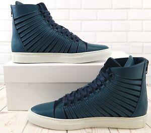 Cipher-radial-Marine-Azul-para-Hombre-De-Cuero-Con-Cordones-Zapatos-Tenis-Altas-Zapatillas