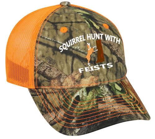 6dea58c4fbf343 Cap Hat Camo Orange Mesh Squirrel Hunt Hunter Dog Feists Hunter ...