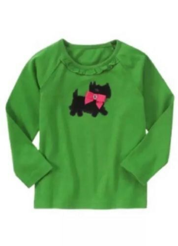NWT Gymboree Girls Cheery All The Way Green Scottie Top Size 3 4 5 /& 6