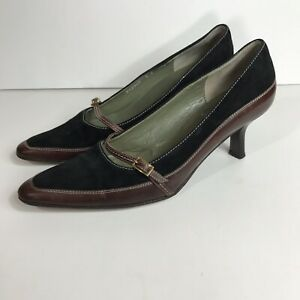 Cole-Haan-6-B-Shoes-Kitten-Heels-Suede-Black-And-Leather