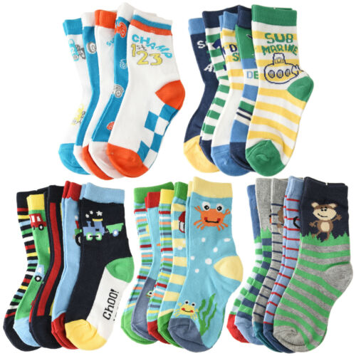 5-Pack Cotton Colorful Novelty Animals//Car//Sports//Sea Crew Socks Toddler Kids
