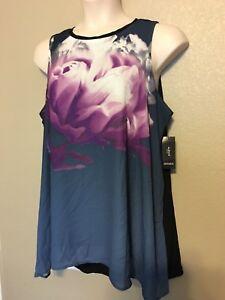0084c2b6371287  86 (NWT) Alfani Women s Plus Size 20W Blue Purple Blossom-Print ...