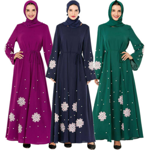Women Muslim Loose Abaya Long Sleeve Kaftan Islamic Arab Jilbab Maxi Dress Robe