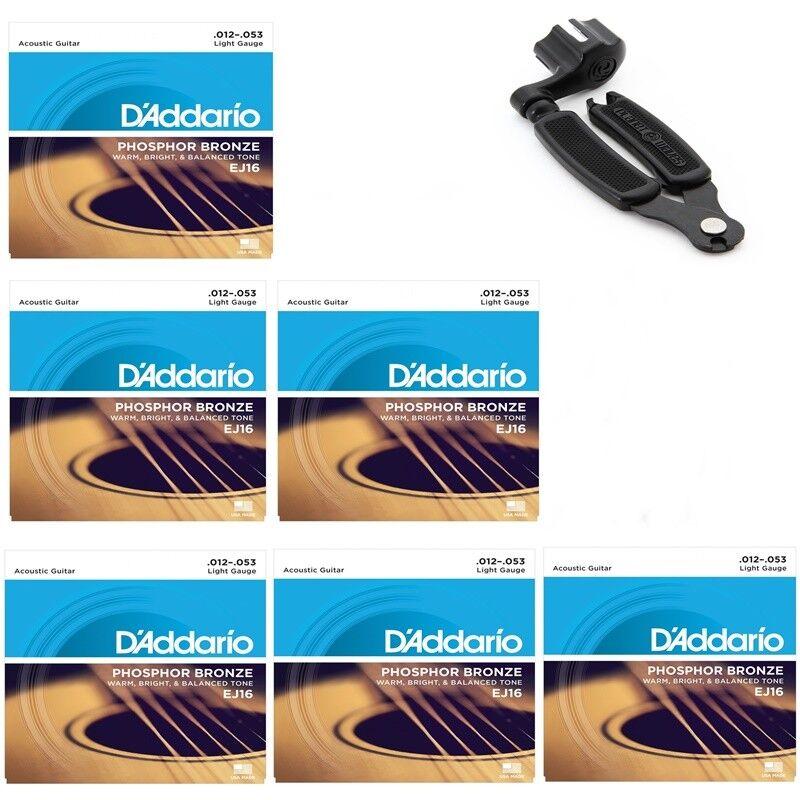 6 X D'Addario EJ16  Light Acoustic Guitar Strings 12 - 53 + Pro String Winder