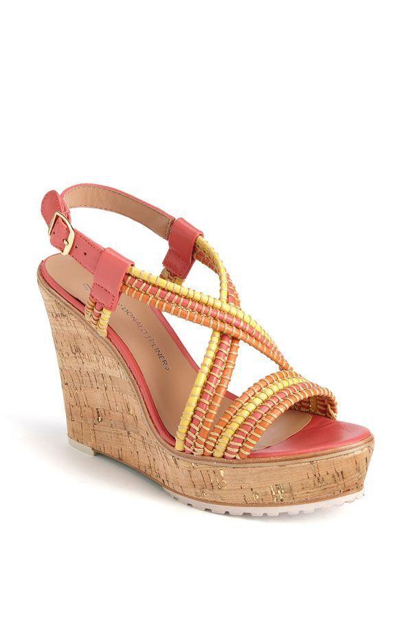 Donald J Pleiner Kalino Wedge Leather Sandals NEW  10