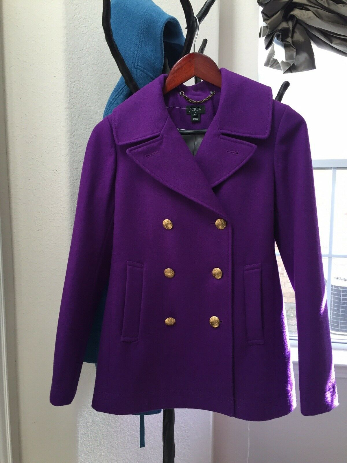 J CREW Double breasted Wool Blend Peacoat In vibrant Purple