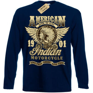 Chef-Indien-T-Shirt-Motos-Americain-Motard-T-Shirt-Hommes-Manches-Longues