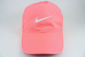 NIKE FEATHER LIGHT DRI-FIT ADJUST CAP HAT LAVA GLOW CORAL PINK ... 96af23e37b6