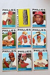 Lot-of-9-1964-Topps-PHILADELPHIA-PHILLIES-vintage-baseball-cards-High-Numbers
