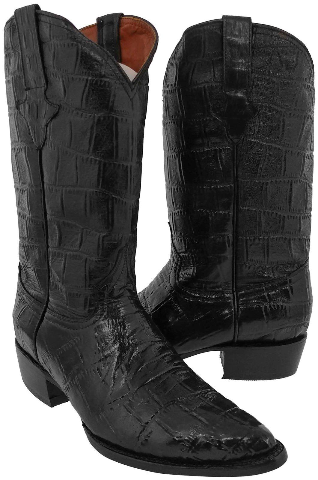 Para Hombre Negro Completo Cocodrilo Cuero de impresión del vientre grande botas de vaquero Puntera En Punta