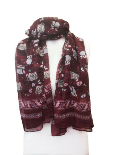 Women Summer Scarf Owl Print  Warp Stole Big Cotton Viscose Blend Stole Scarves