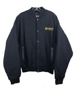 REMY MARTIN Fine Champagne Cognac Wool Coat Jacket Canada Leather Trim -Men's XL
