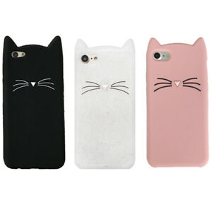 For-Various-Mobile-Phone-Case-Cover-HOT-3D-Cute-Cartoon-Beard-Cat-Soft-Silicone