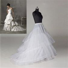 Womens Wedding Petticoat 2 hoops Underskirts Gown Crinoline Long Train Slips