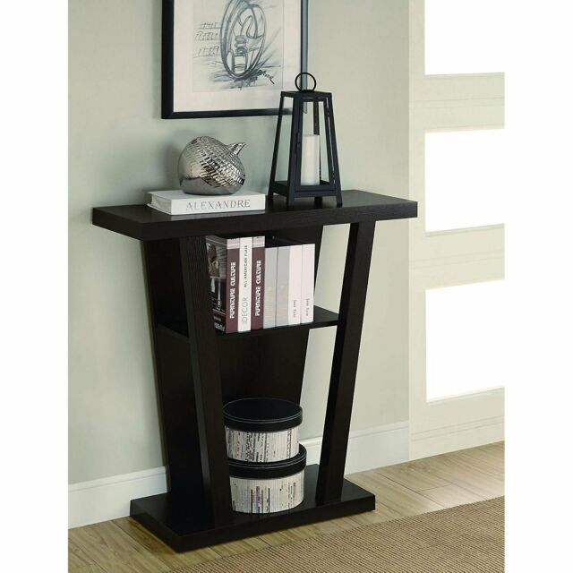 Cappuccino Console Table Hall Entry Way Living Room Decor Shelf Modern Furniture
