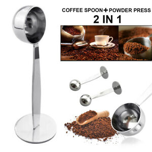 2-IN-1-STAINLESS-STEEL-ESPRESSO-COFFEE-TAMPER-MEASURING-SPOON-SCOOP-amp-STAND-FUNNY