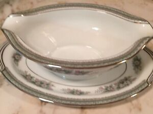 Vintage-Noritake-Bristol-Gravy-Boat-And-Attached-Underplate
