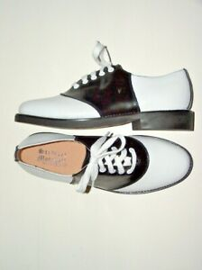 Stewart-Marshall-Black-amp-White-Classic-Leather-Saddle-Shoes-Men-039-s-NIB