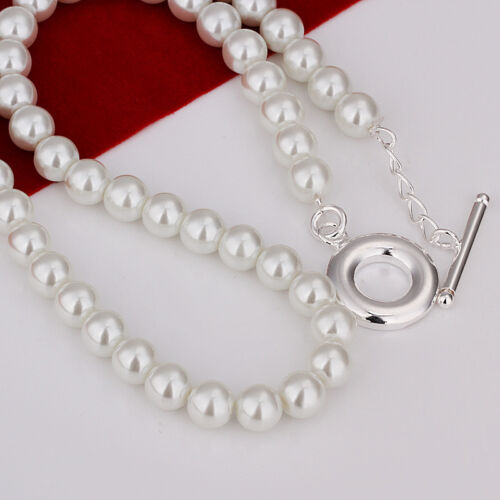 Wholesale 925 Sterling Silver Fashion Cool Perle Blanche T-O Collier 8 mm NLB103