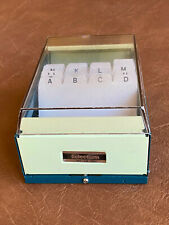 Vintage Business Card File Box Holder Selectum No 58 480 Metal Amp Plastic