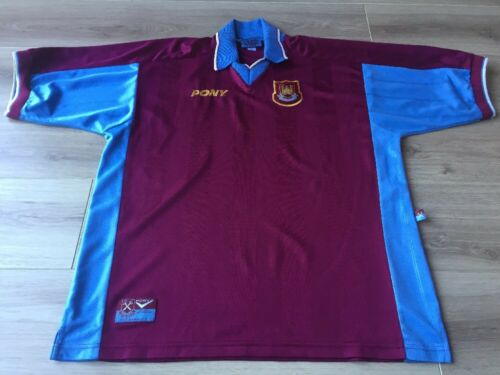WEST HAM UNITED FOOTBALL SHIRT ADULTS X LARGE. PONY HOME KIT 1997 NO SPONSOR