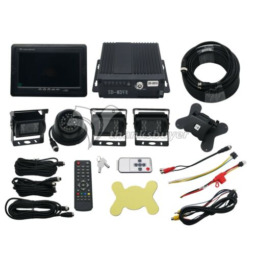 "4CH Car Mobile DVR Recorder with 4 IR Light Vision Camera and Cable 7/"" LCD US"
