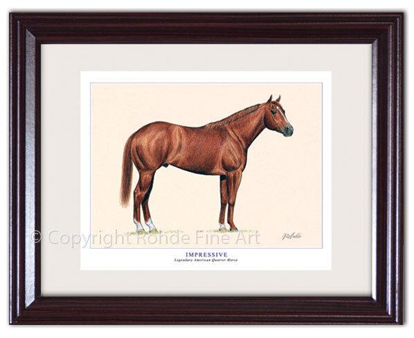 IMPRESSIVE  FRAMED AMERICAN QUARTER HORSE ART signed equine artist Rohde