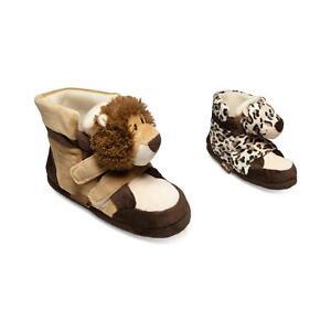 Details zu Löwe Tiger Tier Hausschuhe Pantoffel Puschen Schlappen Plüsch Kinder Braun 35 41