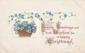 R319551 Hearty Greetings and Best Wishes for a Happy Christmas. Basket with Blue