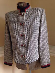 St John Collection by Marie Gray Red White Blue Jacket Blazer 6 P Santana Knit