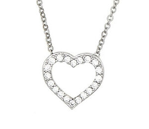 d630bb06e7cf7 Silver Cubic Zirconia Love Symbol Floating Small Open Heart Pendant ...