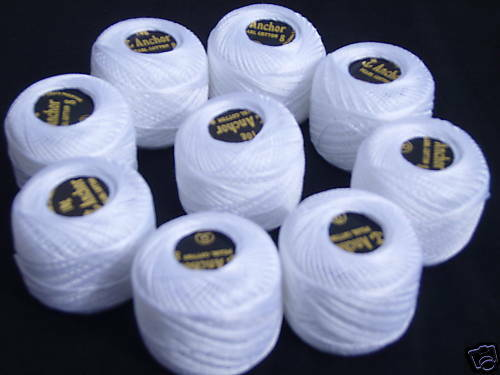 10 white ANCHOR coton perlé balls.size 8,85 M chaque