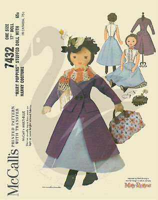 "Vintage Reprint of Mary Poppins17"" Cloth Doll Sewing Pattern"