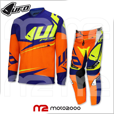 KIT COMPLETO UFO MOTO CROSS REVOLT OFF ROAD ENDURO ADULTO ARANCIONE BLU