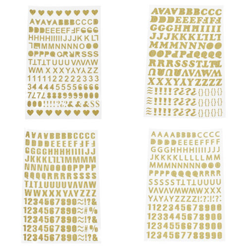 1 Sheet Gold Letters Numbers Heart Stickers Self-adhesive DIY Scrapbooking Craft